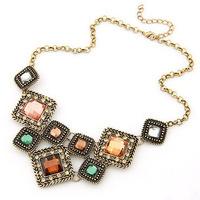 Crystal Vintage gold linked chunky choker statement necklace pendant & necklace lady women jewelry  JZ150