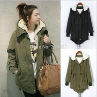 Korean Women Long Sleeve Thicken Fleece Hooded Parka Lady Winter Coat Jacket Outwear Green Black Plus Free Shipping  A039