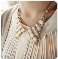 Shining Grid bowknot Crystal gold boho chunky choker statement necklace pendant & necklace lady women jewelry JZ157