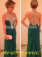 2014 Gorgeous Crystal Beaded Applique Evening Dresses Cheap Prom Dresses Sexy Formal Dresses Custom made Fashion QB-53