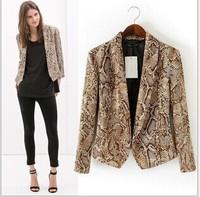 Brand New 2014 Spring Blazer Jacket Women Serpentine Printing Casual Slim Long-Sleeved Coat/S/M/L#447
