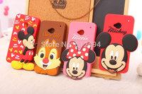 Newest Cute 3D Cartoon mobile Case For HTC M7 cartoon Head cartoon minnie mickey Silicone Back Covers