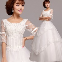 Long-Sleeved Lace Princess Bride Wedding White Wedding Dress Big Yards Free Shipping-China Sales