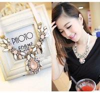 Luxury NightClub HOT Pink Flower trend chunky necklaces & pendants lady women jewelry JZ125