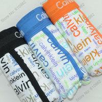 3 pcs/lot Sexy Bodybuliding Men's Underwear Cotton Best quality brand Boxers Shorts cueca Mix color Black  Blue Orange