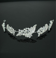 Very Shine New Leaf Style Bridal Hair band Head Tiaras Made of Alloy Rhinestones A grade quality