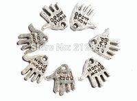 Wholesale 100 pcs Hand Made Label Hands Charms Pendant Charm Bracelet Necklace Pendant Jewelry Findings Antique Silver