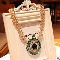 Vintage Waterdrop Flower Style chunky statement necklaces & pendants lady women jewelry  JZ134