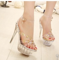 Free shipping,2014 summer women, fashion transparent high-heeled sandals,gladiator sandals,ladies sandles