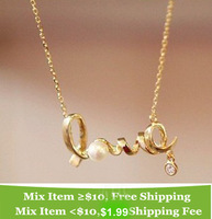 (Min order is $10) E4234 accessories fashion personality ol elegant all-match short design love letter necklace