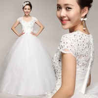 Sweet Princess Korean Word Shoulder Wedding Dress Bridal Lace Free Shipping-China Sales