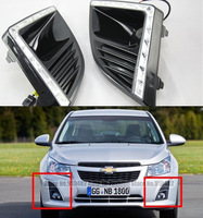 FreeShipping LED Daytime Running Light for Chevrolet Cruze 2013 2014 LED DRL fog lamp with yellow color turn Arc light function