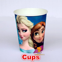Frozen movie Elsa Anna kid boy girl baby happy birthday party decoration kits supplies favors frozen cups 6pcs/lot