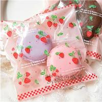 Free Shipping Wholesale 500pcs/lot 10x10+3cm Strawberry Self Adhesive Seal Gift Bags / Sugar Bags Baking Packaging
