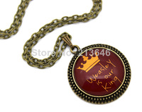 10pcs Harry Potter 'Weasley is our King' Necklace glass Cabochon Necklace