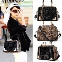 2014 Brand New Fashion Desigual Women Handbags Sequin Black Leopard Messenger Shining Cross Shoulder Bag Handbag Tote Hot Sale