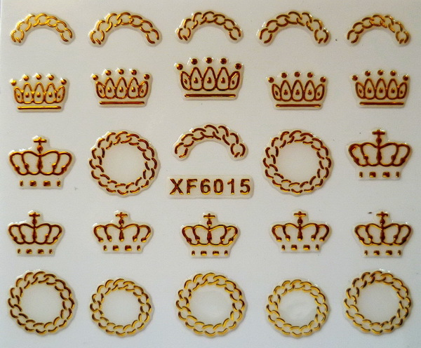 Free shipping Fashion style 1 Sheet golden color crown shape 3D Design Tip Nail Art Nail Sticker Nail Decal Manicure nail tools(China (Mainland))