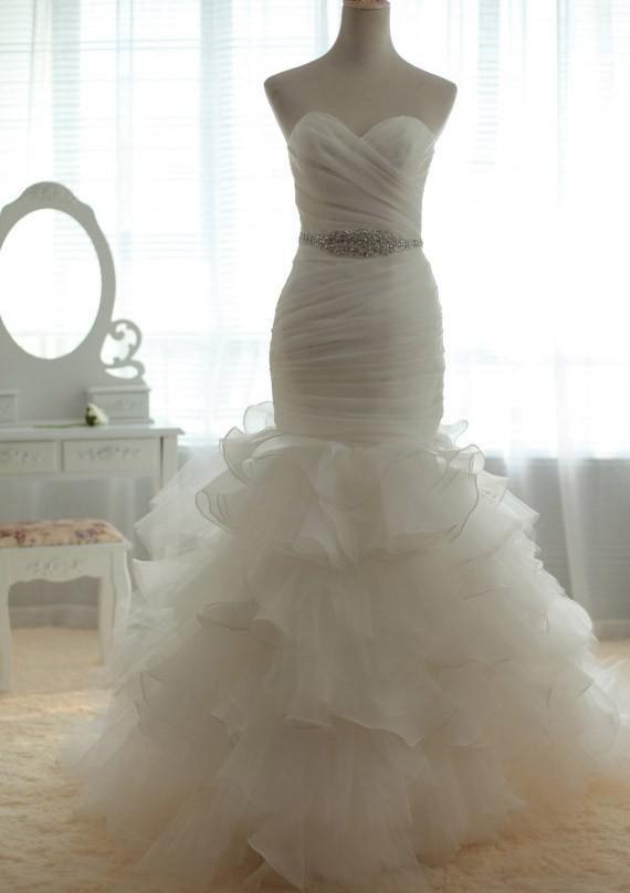 fotos reais sexy plissado babados organza querida capela trem vestidos de noiva sereia 2014 nova chegada(China (Mainland))