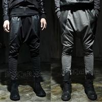 2014 men's Stitching leather harem feet pants, banana dance pants, Mixed colors low drop crotch sweatpants for men,X132,28-35