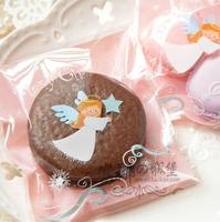Free Shipping Wholesale 500pcs/lot 10x10+3cm Christmas Angel Self Adhesive Seal Gift Bags / Sugar Bags Baking Packaging