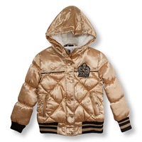 2014 hot sale Fashion child female child cotton-padded jacket thickening cotton-padded coat big boy outerwear top
