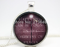 10pcs Harry Potter 'Happiness Can Be Found In The Darkest Of Places' Necklace glass Cabochon Necklace