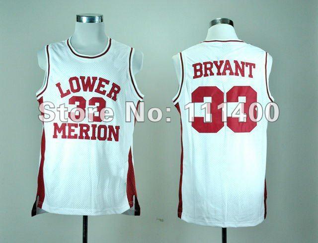 Sell cheap basketball jerseys, - High School Lower Merion 33 Kobe Bryant red white Size : S-XXXL(China (Mainland))