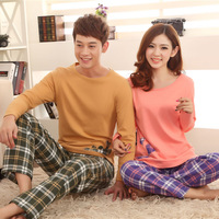 Spring Autumn Cute Happy Birds Cotton Long-sleeved Couple Pajamas For Men and Women Lover's Homewear