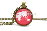 10pcs World Map Necklace, Map Jewelry, White on Coral Pink Glass Cabochon Necklace
