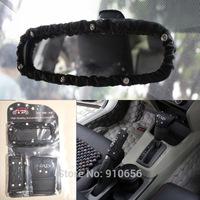 3pcs 2014 New epr Auto DAD rhinestone gear shift collars handbrake grips rearview mirror cover for honda civic 2004-2011 black