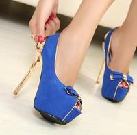 2014 Women Pumps Sapatos Femininos Shoes Women The New Fashion Bowknot Fish Mouth High-heeled Shoes Hot Sale Drop Shipping Pumps
