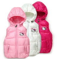 1Retail,New 2015 Children's vest,hello kitty girls hooded cotton vest,girls vest,Children's clothes,children's winter vest