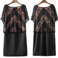 Latest 2014 European Style Women's Casual Formal Double Layer Lace Dress Plus Size XL-XXXXL/Shirt/Blouse/One-piece Dress/Top