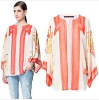 2014 new fashion women's shirt European style high quality printing loose chiffon female flower shirt free shipping
