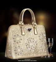 Hot Sale Fashion Shell Bag Wedding Gold Party Handbag Diamond Genuine Leather Luxury Celebrity Style Big Small Size