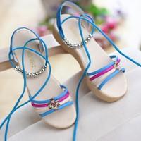 2014 bohemia sandals wedges platform beaded lacing sweet princess shoes sandals