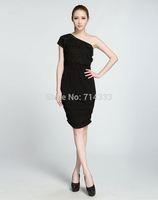 New 2014 Summer Women Fashion Solid Color Sexy Club Dress Slim Fold Elegant One Shoulder Dresses Evening Wedding Party Dress