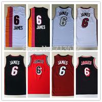 Miami 6 Lebron James Throwback Jersey, Cheap Lebron James Basketball Shirt Classic Rainbow Basketball Jerseys Embroidery Logo