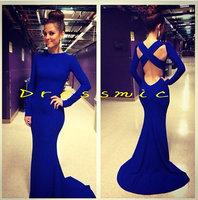 Blue Sexy Long Sleeve Mermaid Chiffon Backless Evening Dresses Prom Dress Custom Made QB-56