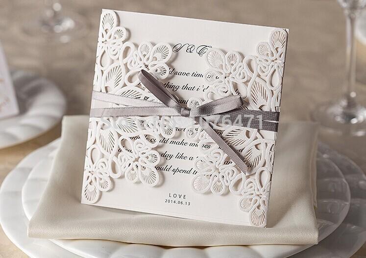 neue elegante 50 stück glückliche Hochzeit partei laser Einladungskarten und weddomg Einladung großhandel versandkosten
