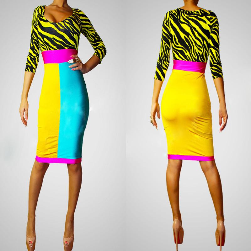 2014 Summer Sexy Bandage Dress Women Party Club dress Clubwear Bodycon Backless Nightclub Bandage zebra Dress free shipping(China (Mainland))