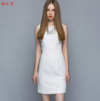 White lace one-piece dress beaded ol slim waist tank dress