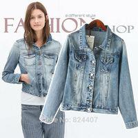 Women Denim Jackets Short Blue Jeans Coats Fashion Brand Designer Autumn Outwear Long Sleeve Clothing Clothes 2014 Fall New