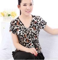 2014 spring silk T-shirt female top mulberry silk knitted V-neck print short-sleeve basic shirt