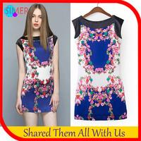 Summer Dress 2014 New Fashion Women's Chiffon Print Sleeveless Slash Neck Novelty Dress Free Shipping