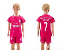 Top quality    2014 -2015    Real Madrid  away  Pink     baby  Kids / youth  bale 11   Ronaldo 7  soccer  jersey  Free Shipping