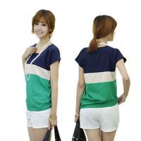 womens tops fashion 2014 Hot summer spell color short-sleeved chiffon women's Korean wild primer shirt blusas femininas B698