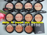 Free hongkong post(6pcs/lot)Brand MC New Studio fix powder plus foundation 15G NC makeup powder cake 11 dif color+brand LOGO