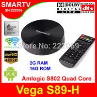 Tronsmart Vega S89-H Android TV Box with Amlogic S802-H Quad Core 2Ghz CPU 2G/8G Memory 2.4G/5GHz Dual Band WiFi Mali450 GPU 4K