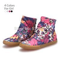 Brand EU 27-34 Autumn Children Canvas High  Shoes Girls Side Zip Print Sneakers Boots White Purple Black Pink 60626-20